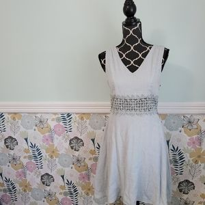 Altar'd State Dusty Blue Dress with Lace Cut Outs